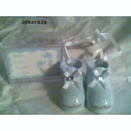 - Personalized Porcelain Baby Boy Booties - ADAM