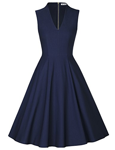MUXXN Ladies Pinup 60s Vintage Knee Length Evening Wedding A Line Dress (Blue L)