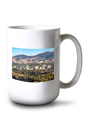 (Lantern Press Reno, Nevada - Cityscape with Casinos - Photography A-97770 97770 (15oz White Ceramic Mug))
