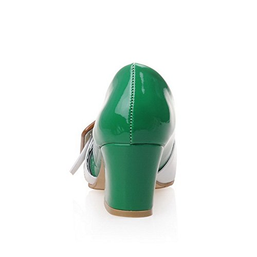 Shoes Women's Toe Green Pull WeiPoot Closed on Kitten Heels Pumps Color PU Assorted Square 7wB6wnO
