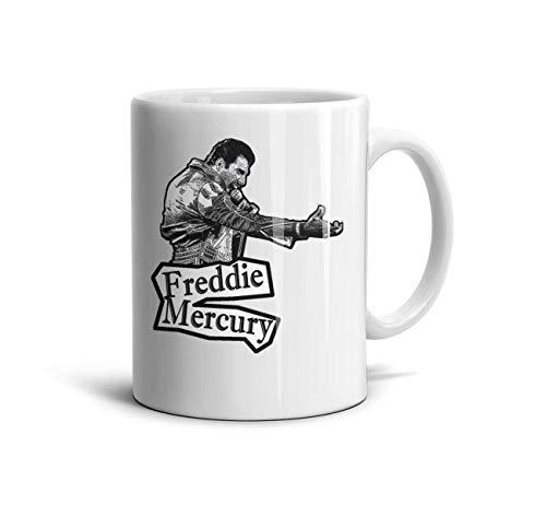 (HGT-YUS White Ceramic Glossy Coffee Mug 11 oz Freddie-Mercury- Cute Drinks)