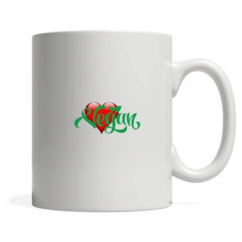 ZMvise Vegan Heart Print Fashion Quotes White Ceramic Mug Cup Perfect Christmas Halloween Gfit]()