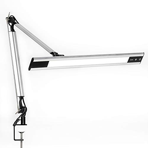 Amico 11W LED Architect Desk Lamp/Clamp Lamp/Metal Swing Arm Task Lamp (Eye-Protective, Touch Control, 4-Level Dimmer/4 Lighting Modes, Memory Function) Adjustable Drafting Work/Office Light Silver