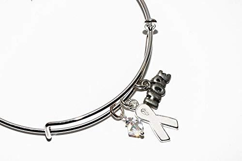 (White Ribbon Awareness Charm Bracelet. Swarovski Crystals. Lung Cancer, Emphysema, Osteoporosis, Lung Disease, Bone Disease, MHE Bangle Bracelet. #02)