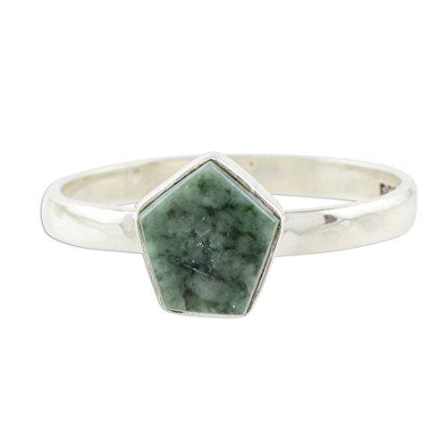 (NOVICA Jade .925 Sterling Silver Ring, Striking in Light Green')