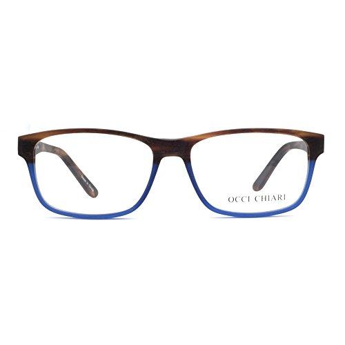 OCCI CHIARI Unisex Rectangle Imitation Wood Grain Optical Eyewear Frame (Demi/Blue, - Glasses Fade Frames