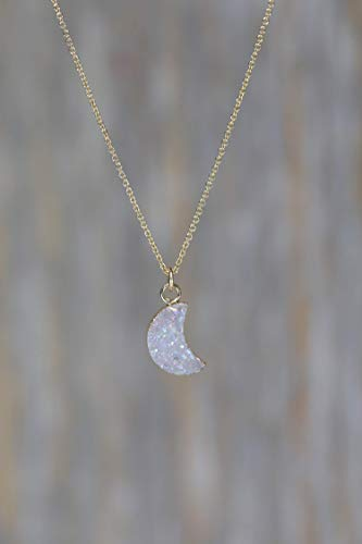 White Lilac Druzy Crescent Moon Pendant Necklace- Real Drusy- 17
