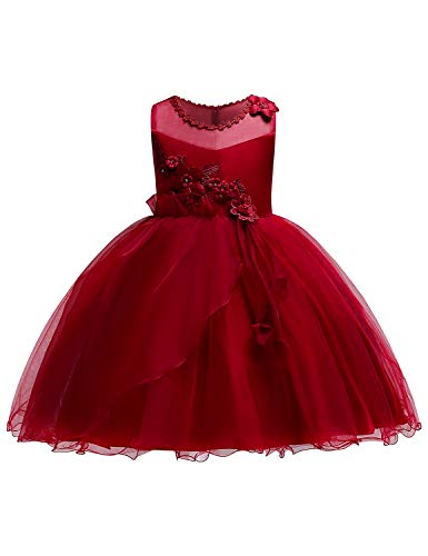JOYMOM Tea Party Dress for Girls, Toddlers Retro Layered Dress up Tulle Gowns Kids Elegant Long Dresses with 3D Flowers Gorgeous Photo Shoot Red Size (120) 4-5 Years