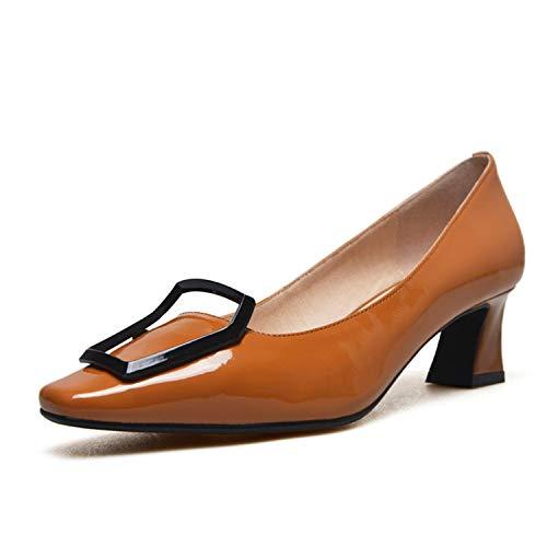 Zapatos Individuales Cabeza Cuadrada de Mujer Boca Poco Profunda Talón Grueso Metal de Charol Hebilla Cuadrada Zapatos Profesionales, Color Caramelo, 37