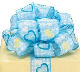 - Blue White Baby Boy Satin Wired Ribbon #9 1.5