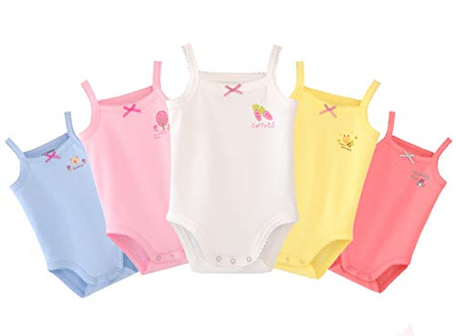 (Infants Baby Girls Sleeveless Onseies Tank Top 100% Cotton Baby Bodysuit Pack of Cardigan Onsies for Infants (18-24 Months) )