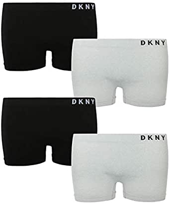 DKNY Girl's Nylon/Spandex Seamless Boyshort Hipster Panties (4 Pack) (Small / 6-7, Black/Heather Grey)