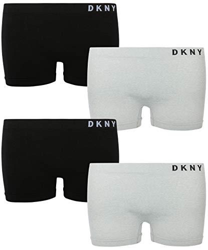 DKNY Girl\'s Nylon/Spandex Seamless Boyshort Hipster Panties (4 Pack) (Medium / 8-10, Black/Heather -