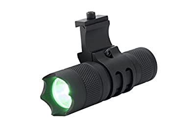 Monstrum Tactical 150 Lumens Green Light LED Flashlight with Remote Pressure Switch and Picatinny Rail Mount (Green Light LED)