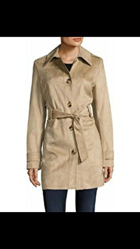 - Via Spiga Women's Faux Suede Double Breasted Trench Coat, Vicuna, Small