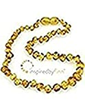 Polished Golden Swirl Amber Necklace (13''-14'')