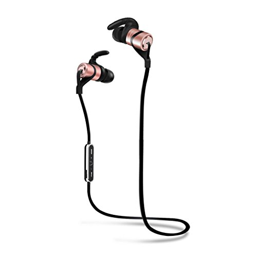 Wiw Bluetooth Earbuds Wireless 4.1 In-Ear Stereo Earphones Secure Fit for Sports with Built-in Mic Rose Gold
