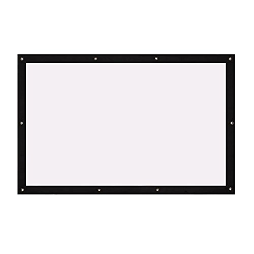 Auntwhale Foldable 4:3 HD Display 40 inches Projector Screen Polyester Projection Curtain Home Cinema Outdoor Courtyards 61×81cm White Background + Black ()