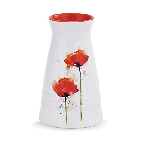 DEMDACO Dean Crouser Poppy Blooming Flower Watercolor Red 7 x 5 Glossy Ceramic Stoneware Vase