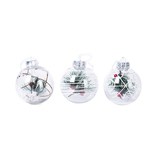 Xena 3 Pack Elegant Assortment Printed Winter Wonderland Clear Christmas Ball Ornaments, 3.15 Inches Each Holiday Scene Xmas Snowy Night Tree Holly Mistletoe Berry Pine Needle