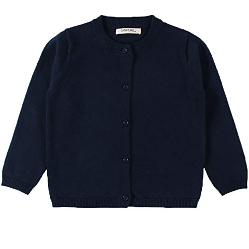 - JELEUON Little Girls Cute Crew Neck Button-Down Solid Fine Knit Cardigan Sweaters 80cm Navy