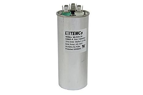 temco dual run capacitor rc0120 50 5 mfd 370 v 440 v vac volt 50 5 rh amazon com
