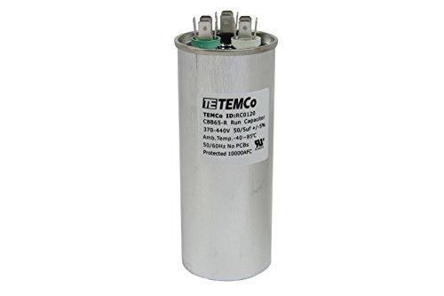 TEMCo Dual Run Capacitor RC0120-50/5 mfd 370 V 440 V VAC Volt 50+5 uf AC Electric Motor HVAC