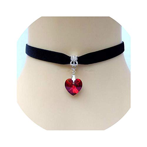 Heart Crystal Victorian Choker Necklace Goth Vintage Velvet Chokers Multi Color Pendant Choker for Women Jewelry (Victorian Style Choker)