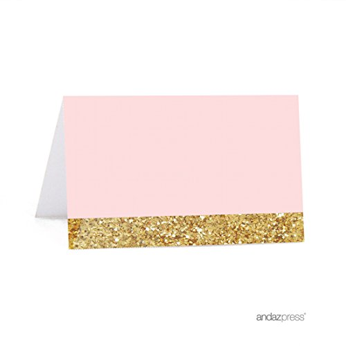 Andaz Press Blush Pink Gold Glitter Print Wedding Collection, Printable Table Tent Place Cards, 20-Pack, For Dessert Candy Table Catering Stations Signage -