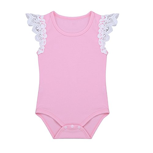 Freebily Infant Baby Girls Cap Sleeves Romper Jumpsuit Cotton Lacework Tops Tshirt Pink 18-24 Months