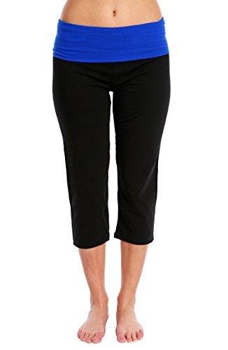Nouveau Women's Workout Active Capri Yoga Pant with Contrasting Color Waistband Casual Loungewear - Black/Cobalt Combo, Large ()