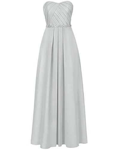 (Cdress Long Evening Gowns Chiffon Prom Party Dresses Wedding Prom Formal Dress Beaded US 26W Silver)