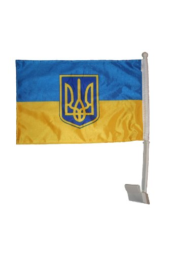 (Ukraine With Trident Double Sided Country Flag Heavy Duty Car Stick Flag 12