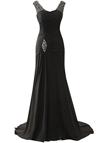 Femmes de Robe d'honneur Longue Robe de Robe Noir Chiffon Demoiselle Bal soire de dSIqwARR