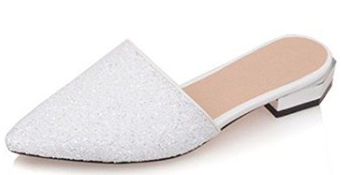 IDIFU Women's Sexy Sequins Closed Pointed Toe Slip On Sandals Low Block Heel Summer Slippers White