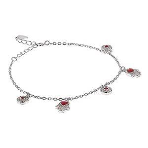 AK Jewels 925 Silver Red Fatima Hand Bracelet For Women