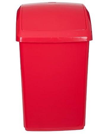 Whitefurze Abfalltonne Rot Kunststoff Mülleimer Mit Schwingdeckel Küche  Büro Abfall Mülleimer
