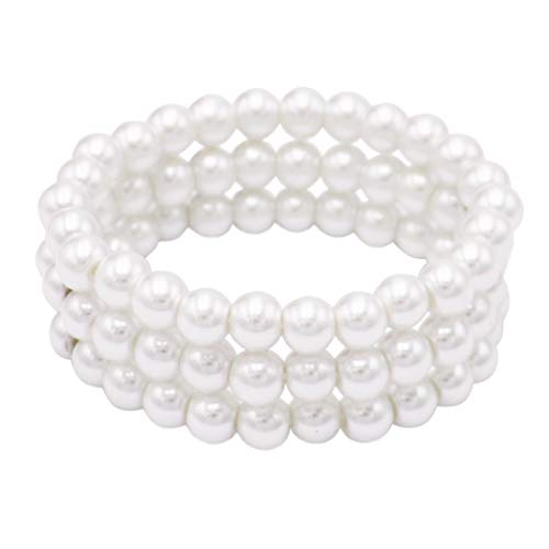Rosemarie Collections Women's 3 Row 8mm Simulated Pearl Stretch Bracelet