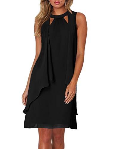 CICIDES Womens Elegant Sleeveless Keyhole Neckline Summer Chiffon Dresses Business Pencil Bodycon Mini Club Party Dress Black US16-18 X-Large