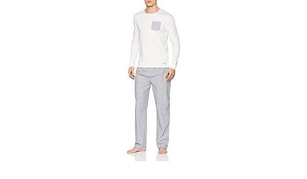 Springfield Pij Long Grey Stripe Conjuntos de Pijama, Gris ...