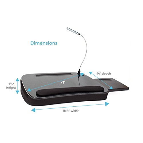 Sofia + Sam Multi Tasking Memory Foam Lap Desk with USB Light (Black Top) - Supports Laptops Up to 15 Inches