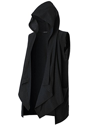 GIVON Mens Sleeveless Ruffle Shawl Collar Cardigan with Pockets/DCC035-BLACK-XL (Hood Medieval)