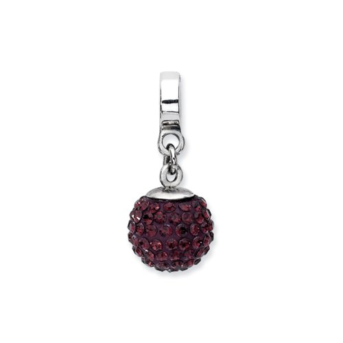 Sterling Silver with Swarovski Crystals June Simulated Birthstone Ball Dangle Charm