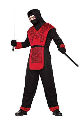 (Forum Men's Fire Dragon Hooded Ninja Costume, Black/Red,)
