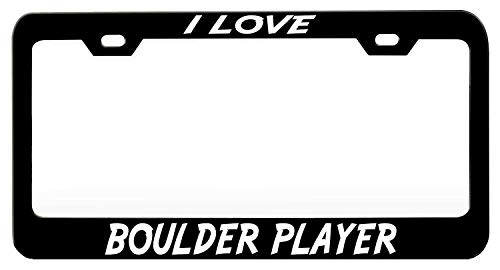 XYcustomBest Matt Black Car Navy License Plate Frame, Personalized Car Tag Holder for Front/Back Vehicle, I Love Boulder Player (2), 2 Holes with Screws Slim Stainless Steel Metal