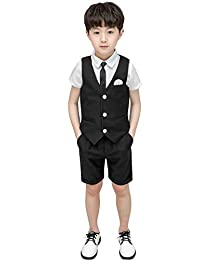 Feaya Boys Summer Wedding Suits 3 Pieces Shirt Vest and Shorts Set with Tie