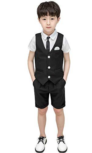Summer Wedding Vest Shorts Set Vest Pants Shirt Bow Tie Summer Suits Set for Toddler Boys Size 5T Black 110cm]()