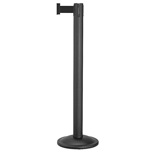 Beltrac Retractable Belt Stanchion for queue lines, Wrinkle Black Post with 7 foot Black Belt. Beltrac Post