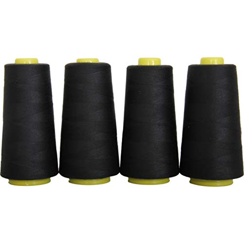 Threadart Polyester Serger Thread – 2750 yds 40/2 – Black – 56 Colors Available – 4 Cone Bundle Pack