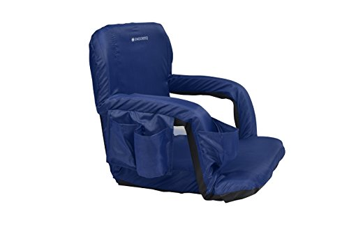 Snocreeq Portable Reclining Stadium seat Folding Sport Chair for Bleachers Benches Cushion Padded Back&armrests, Slip-&Water-Resistant, Easy-Carry Straps.(Blue)